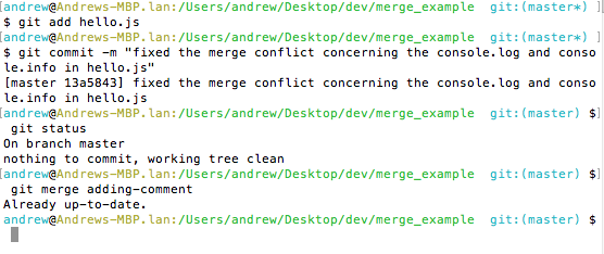 An image showing the final commit to finish our merge