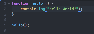 An image showing a Hello World Javascript function