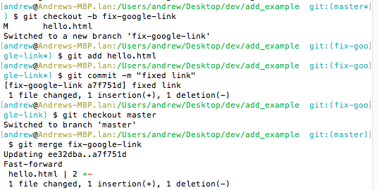 An image showing commands to fix google link