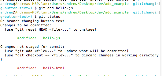 An image showing our status after running git add hello.js